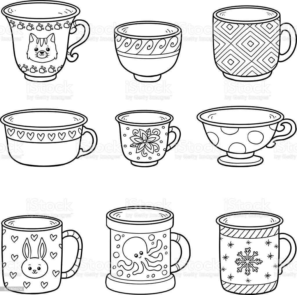 Vector set with different empty cups vector art illustration