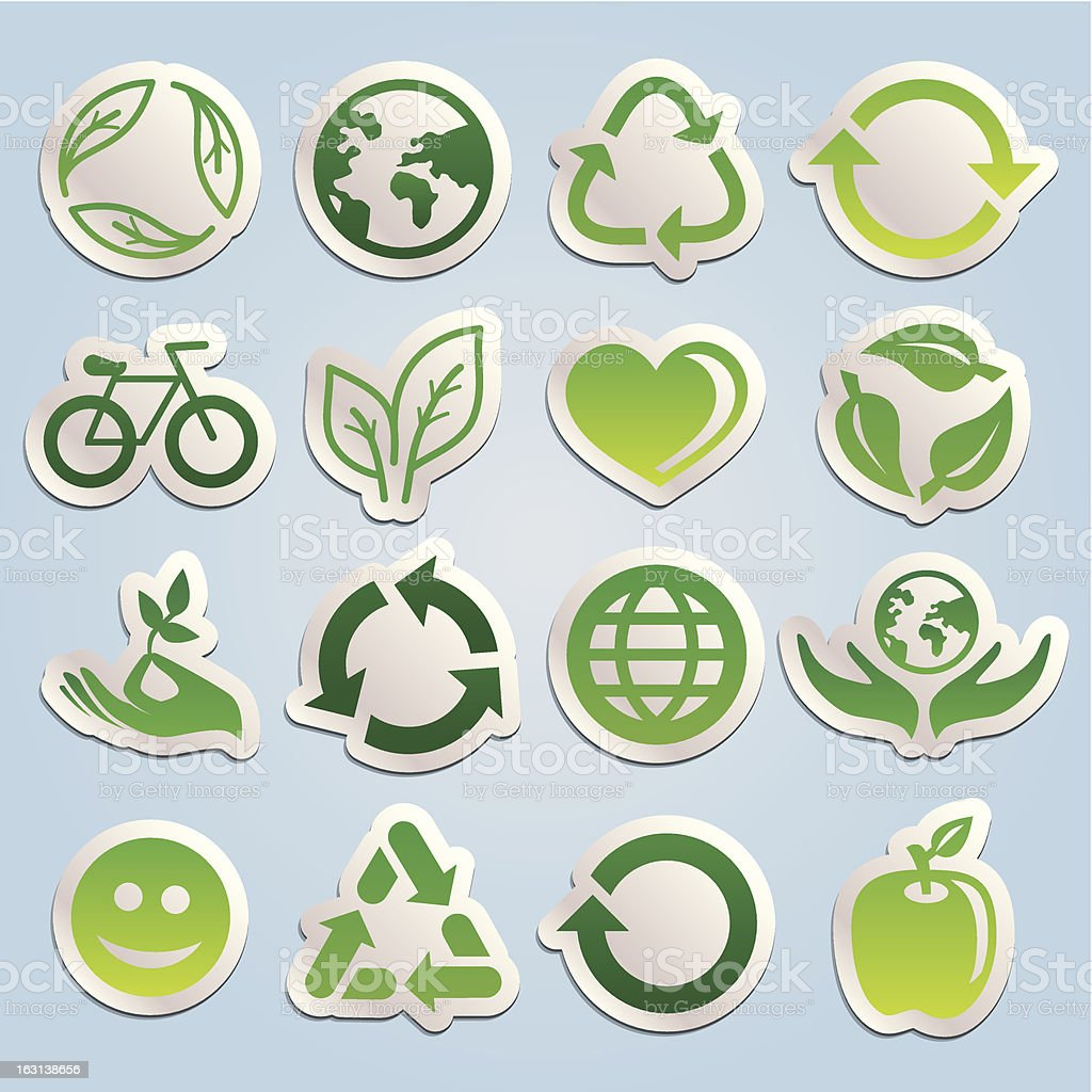 Vector set with ecology stickers royalty-free stock vector art