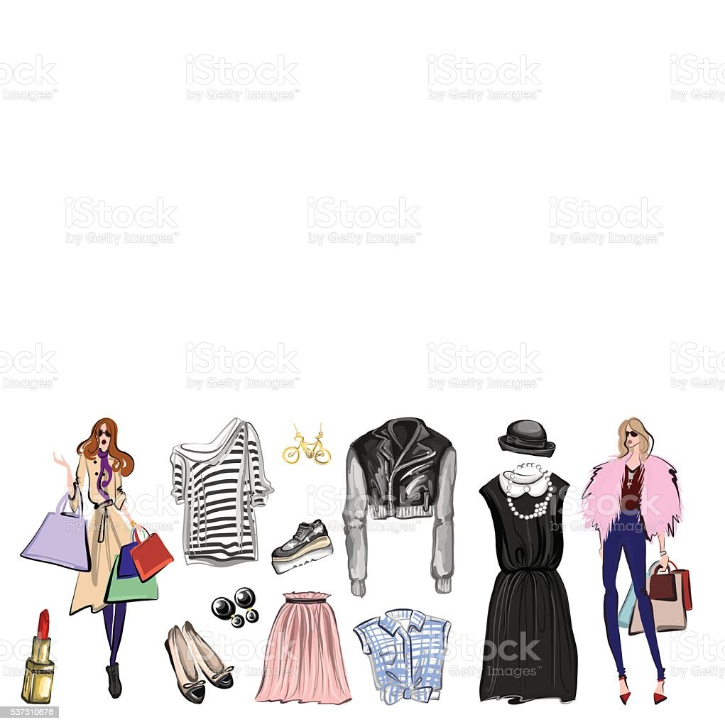 Vector set with fashion and perfume elements Digital watercolor vector art illustration