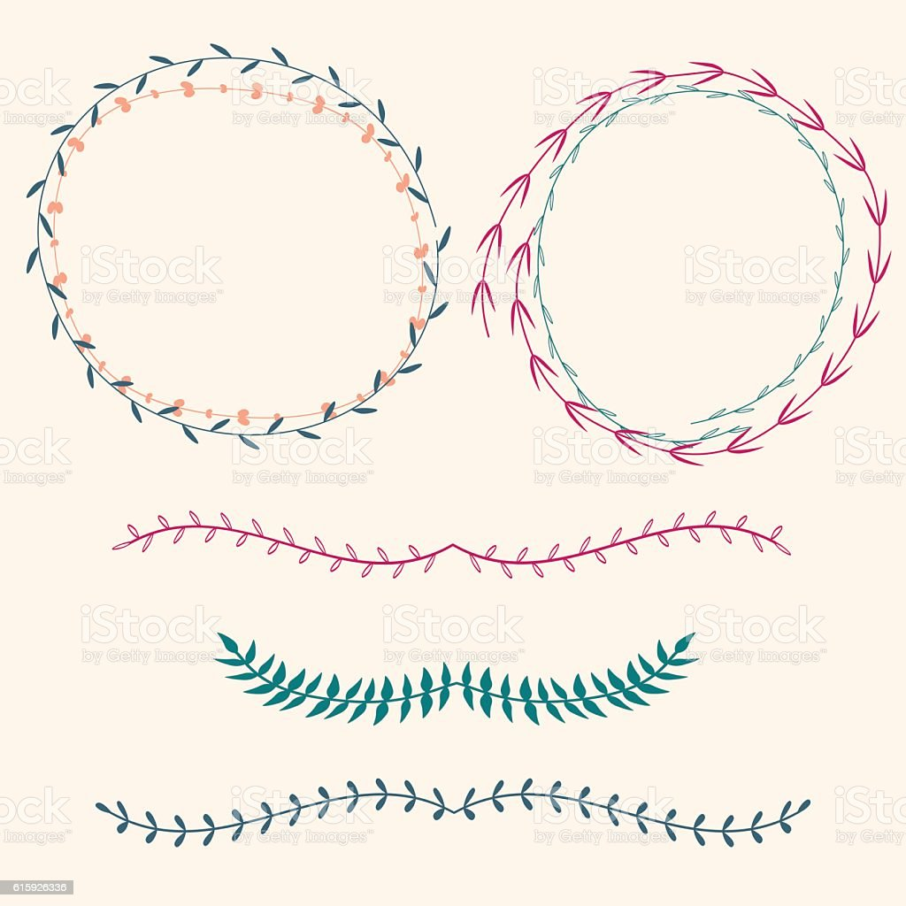 Vector set with floral frames and borders vector art illustration