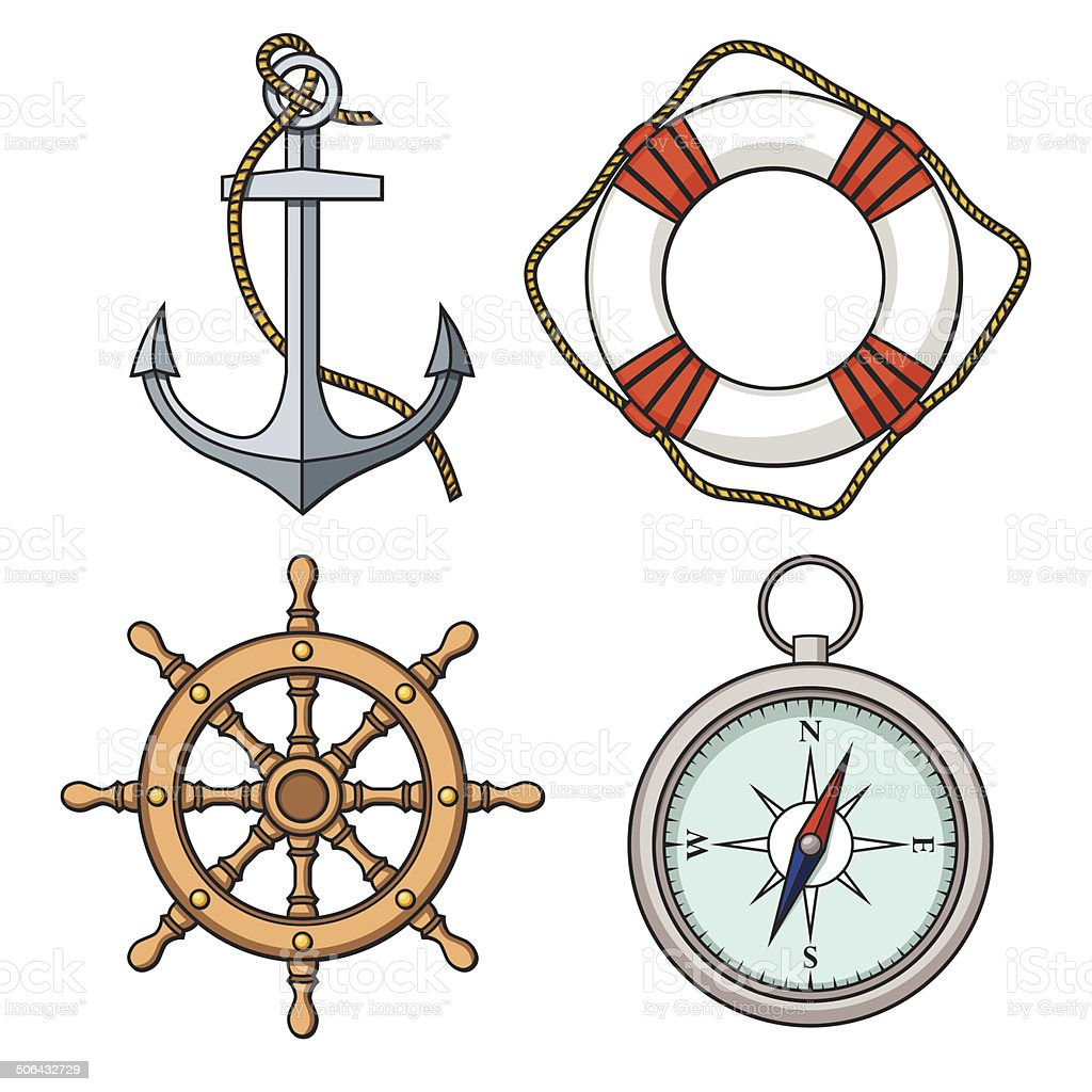 Vector set with isolated anchor, lifebuoy, ship's wheel, compass vector art illustration