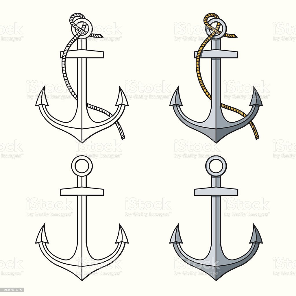 Vector set with isolated anchors. Black and white vector art illustration