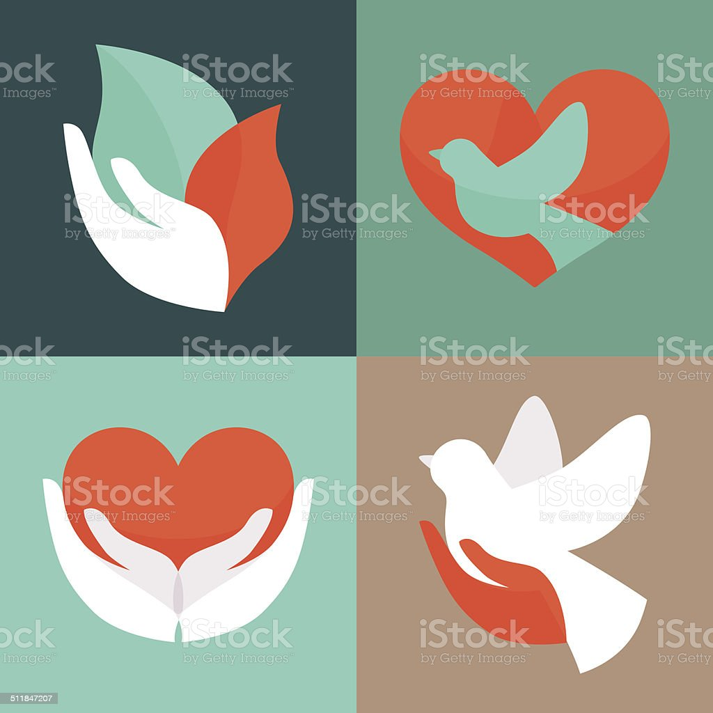 Vector set with signs of love and care vector art illustration