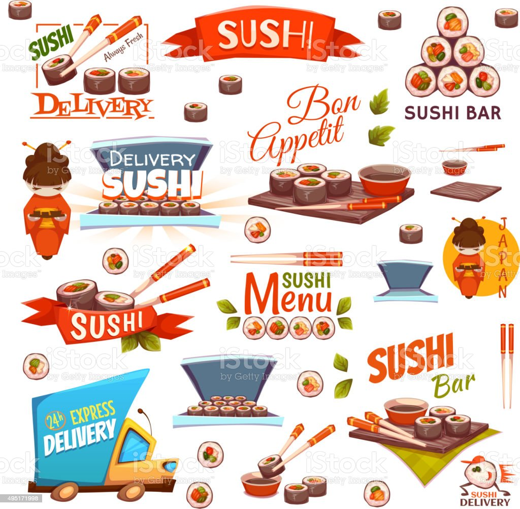 Vector set with sushi banners, icons, logo and illustrations vector art illustration