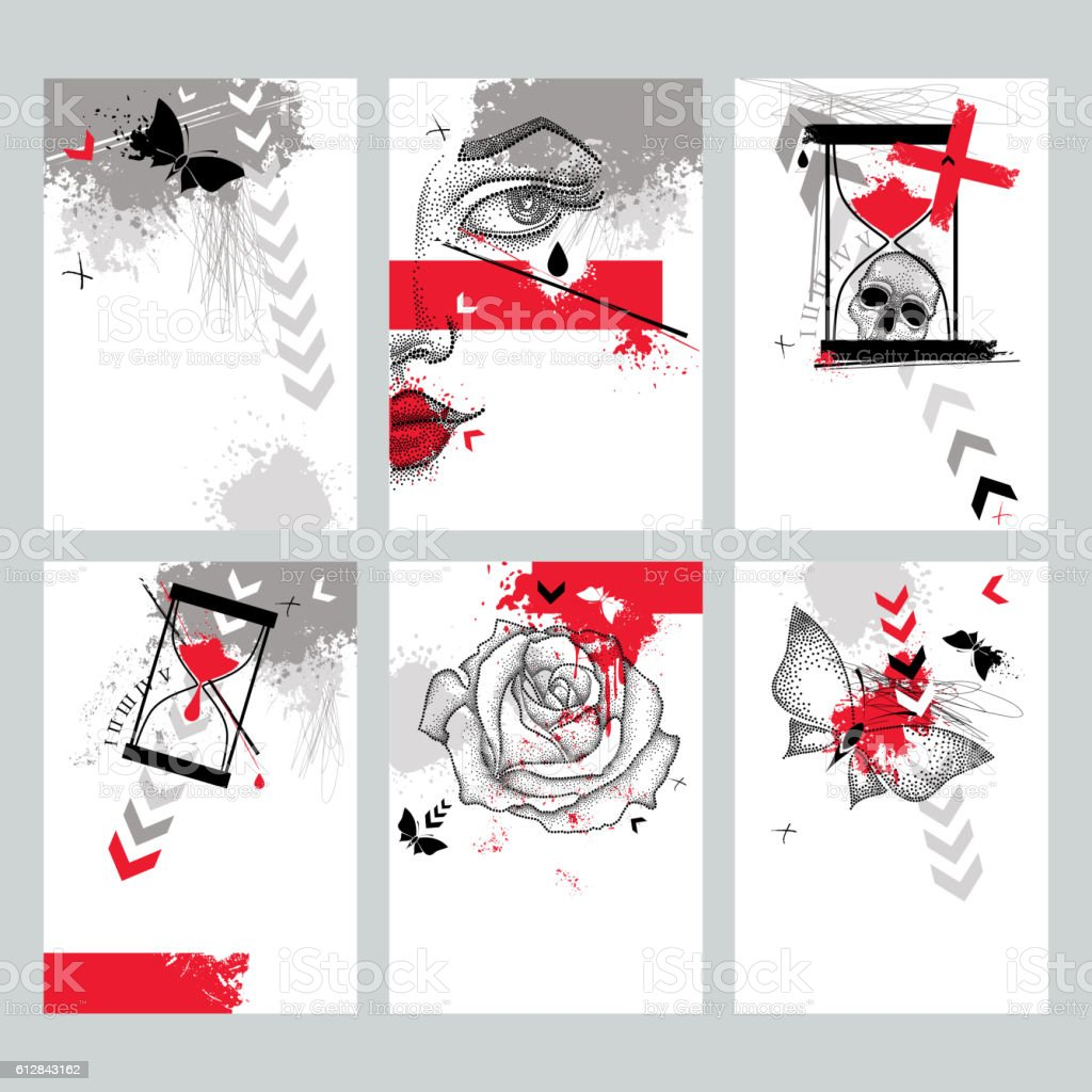 Vector set with templates in Trash Polka and dotwork style. vector art illustration