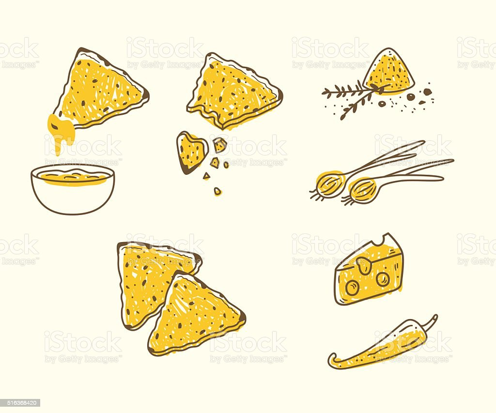 Vector set with tortilla chips and dips vector art illustration