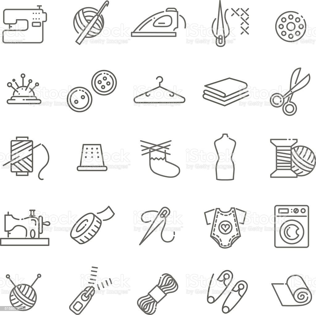 Vector sewing equipment and needlework icons set vector art illustration