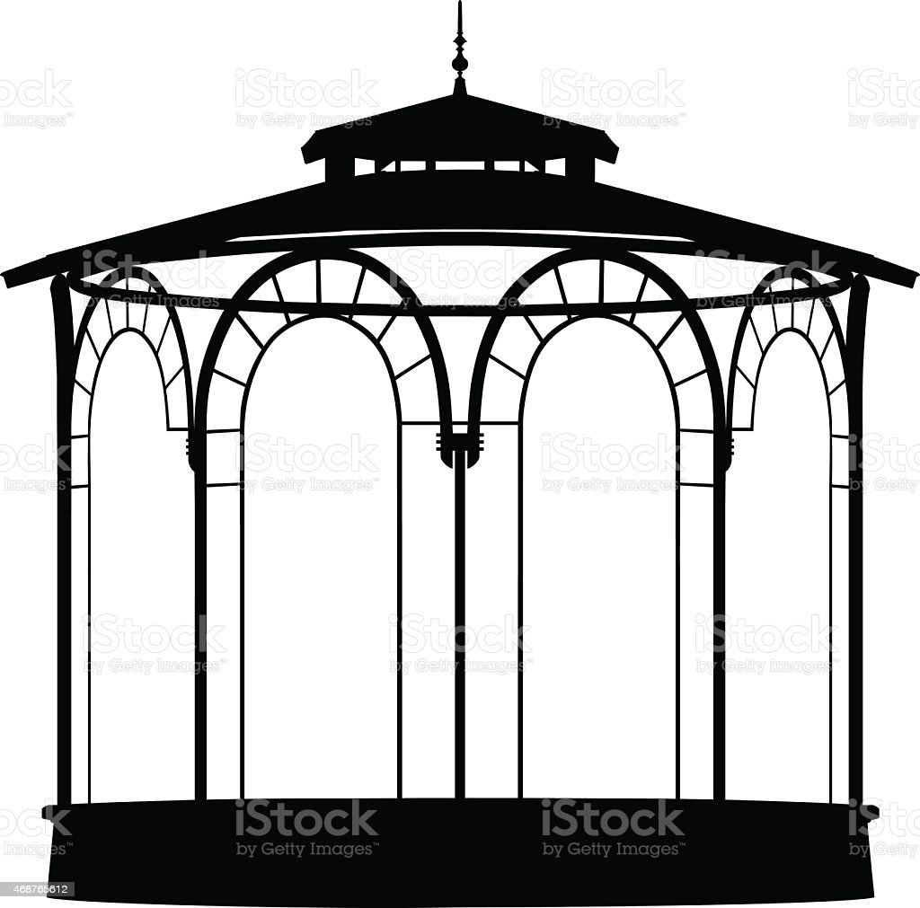 Vector shadow of a bandstand vector art illustration