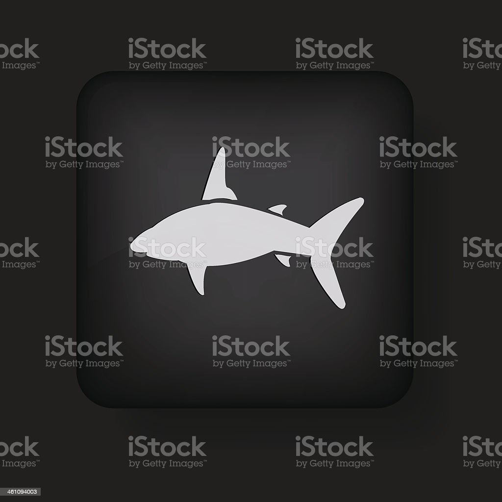 vector shark icon on black. Eps10 vector art illustration
