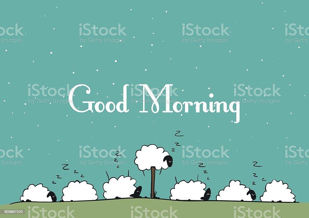 Vector sheep - Good Morning vector art illustration