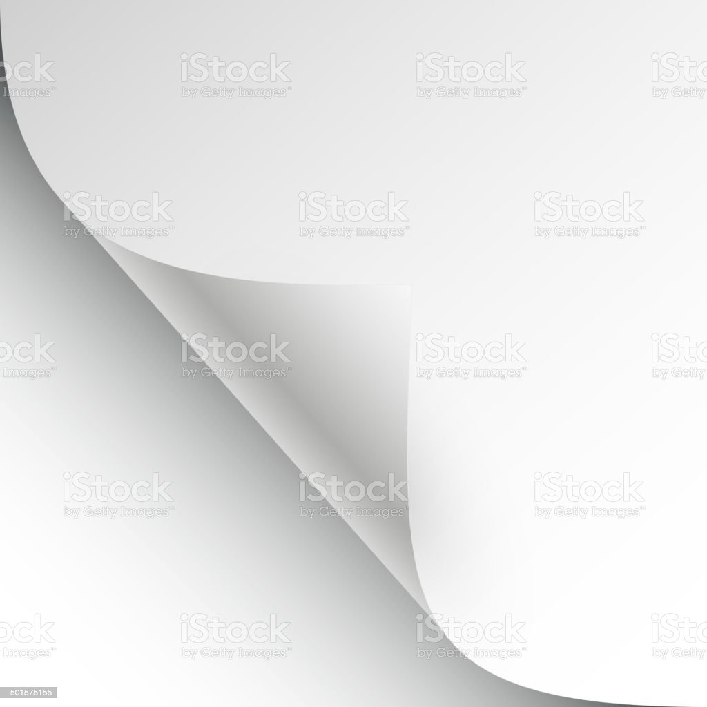 vector sheet of paper with page curl and shadow vector art illustration