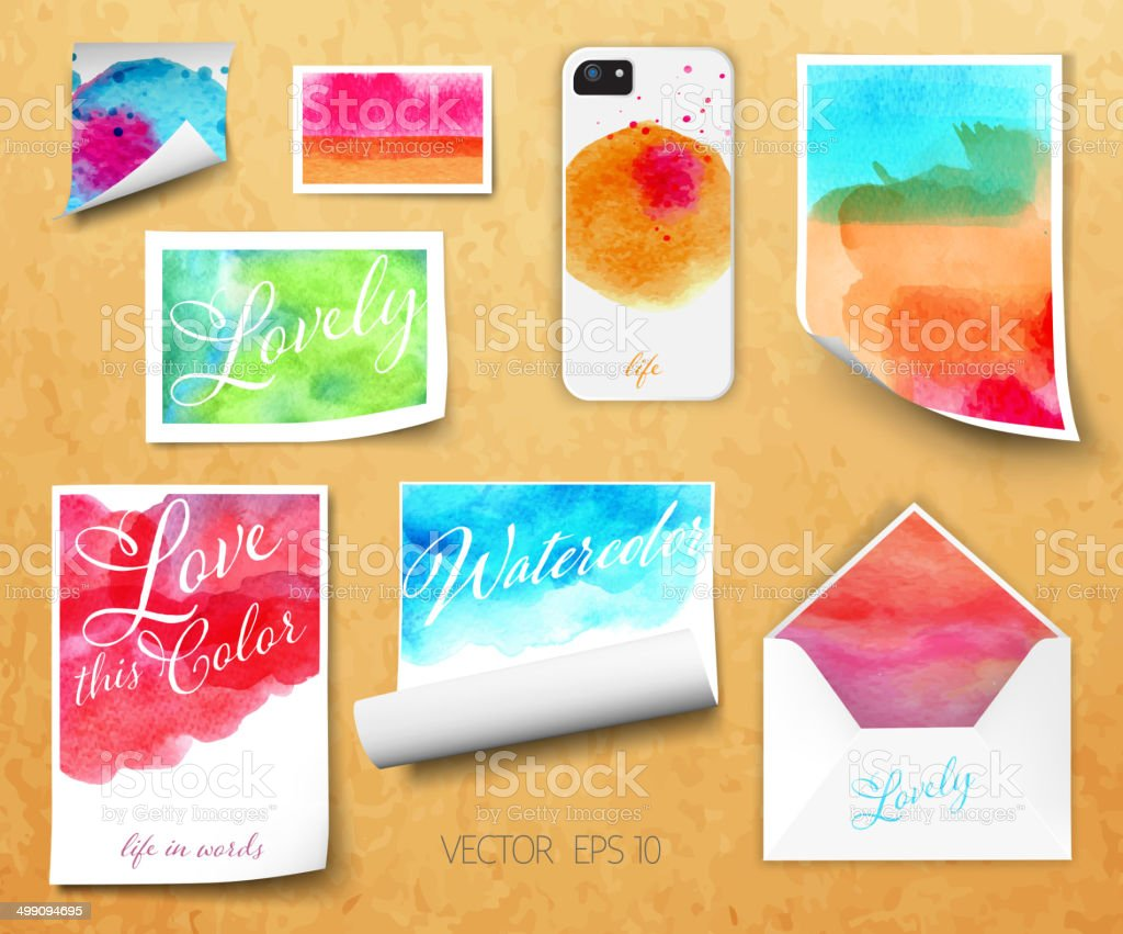 Vector sheets of paper wrapped template design watercolor kraft vector art illustration