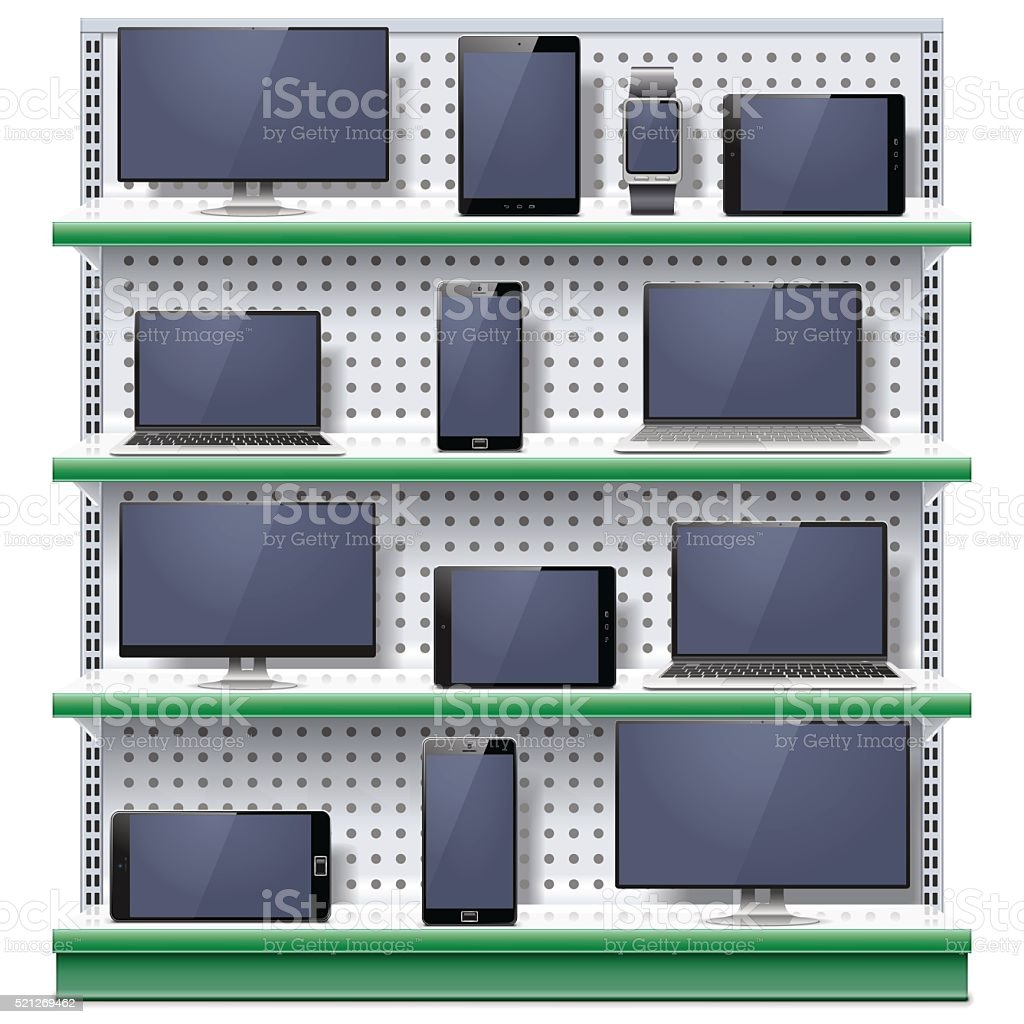 Vector Shelves with Modern Electronic Devices vector art illustration