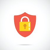 Vector shield and lock icon. Modern flat design vector illustration