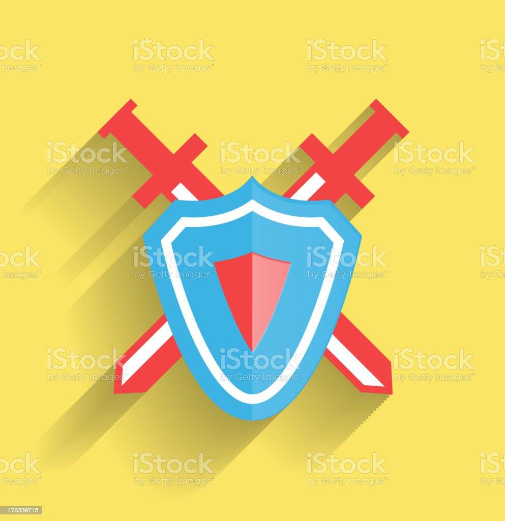 Vector shield and swords iicon royalty-free stock vector art