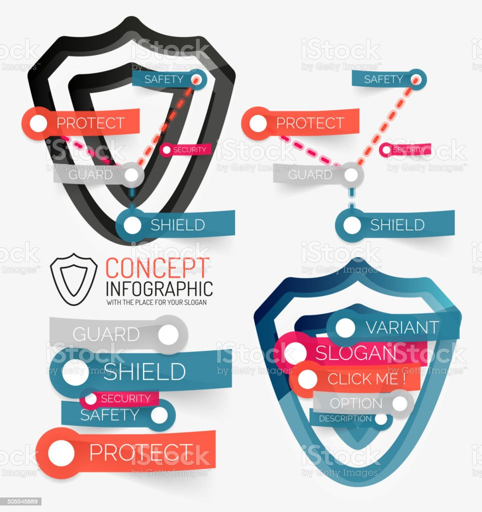 Vector shield protection infographic royalty-free stock vector art