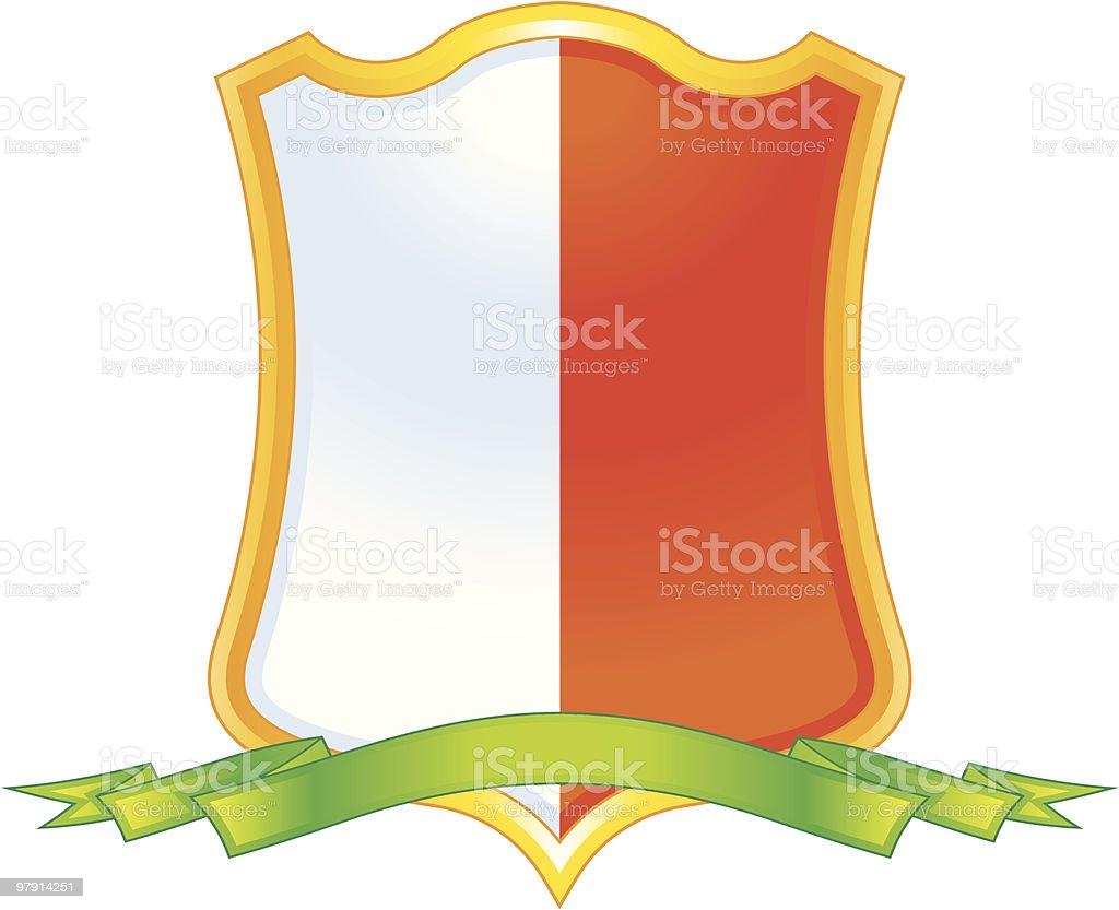 Vector shield with ribbon vector art illustration