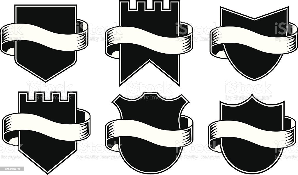 Vector Shields with ribbons vector art illustration