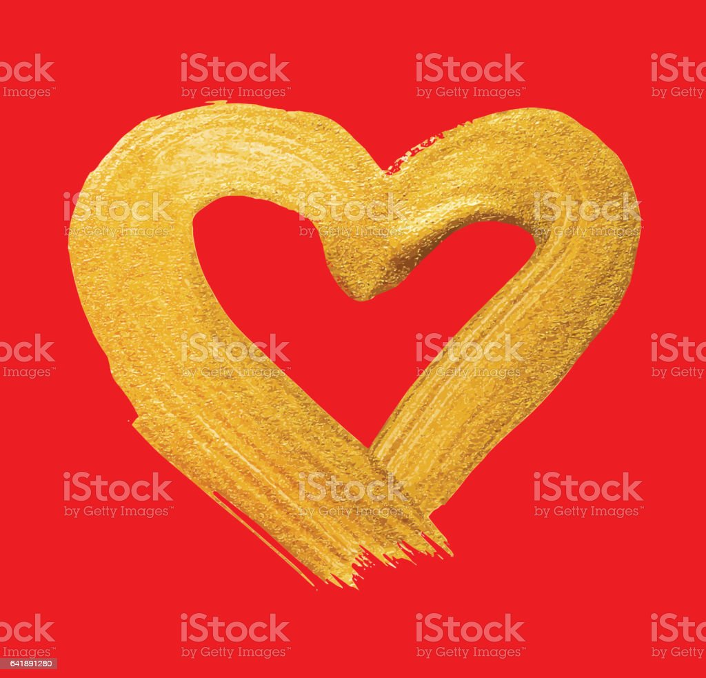Vector shining gold heart. Watercolor texture brush strokes isolated on red. Abstract hand painted golden background vector art illustration