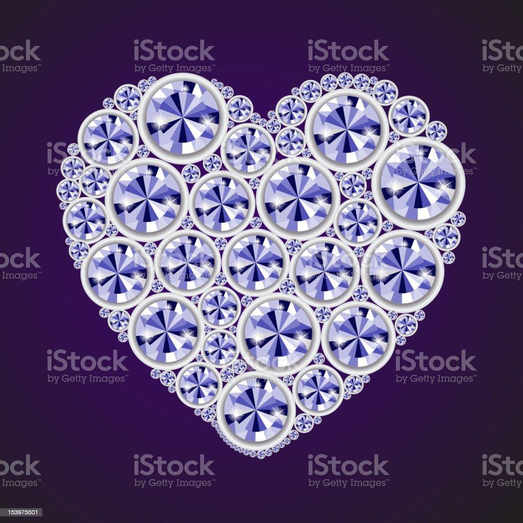 Vector shiny diamond heart on black background royalty-free stock vector art