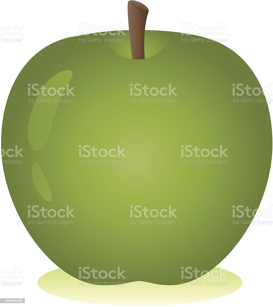 Vector Shiny Green Apple with stork royalty-free stock vector art