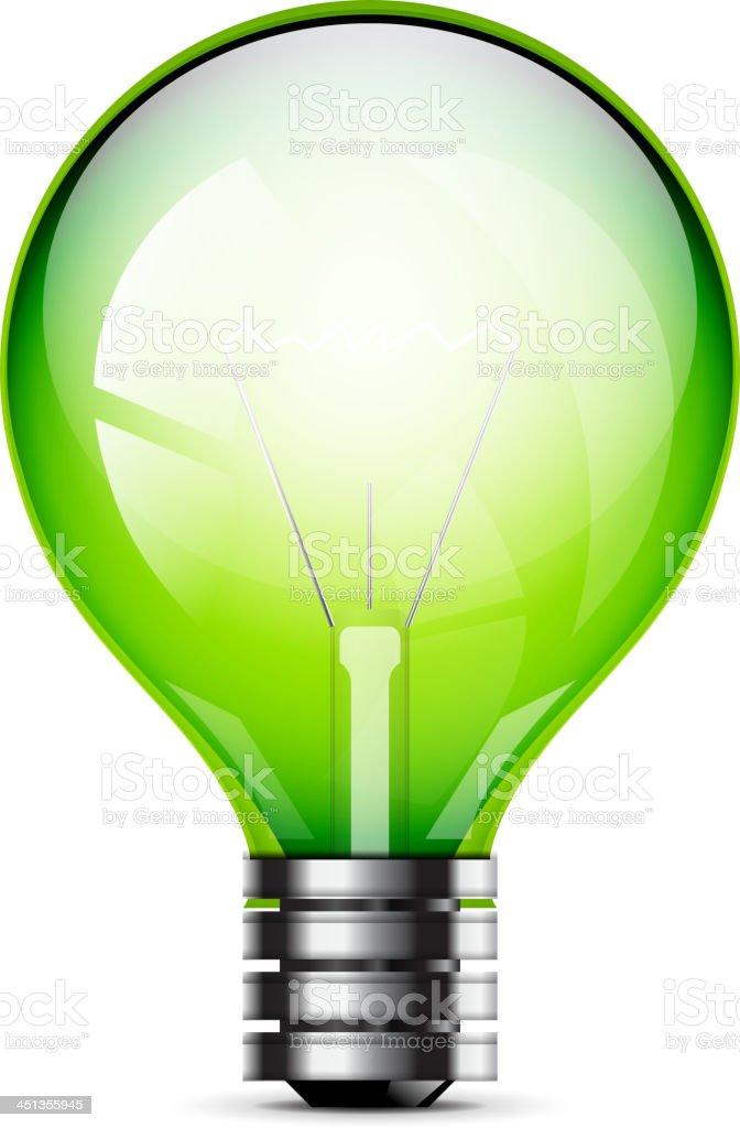 Vector shiny green light bulb royalty-free stock vector art