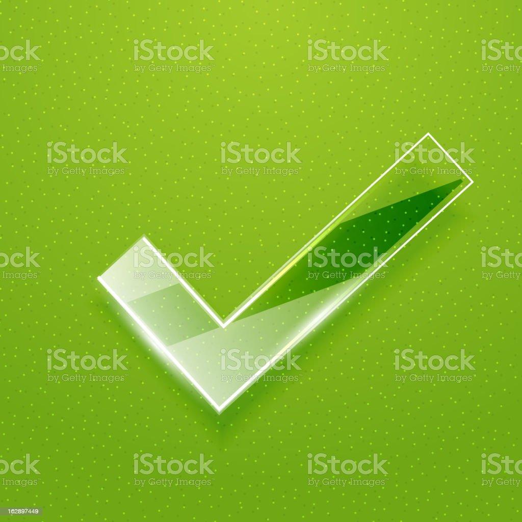 Vector shiny green tick symbol royalty-free stock vector art