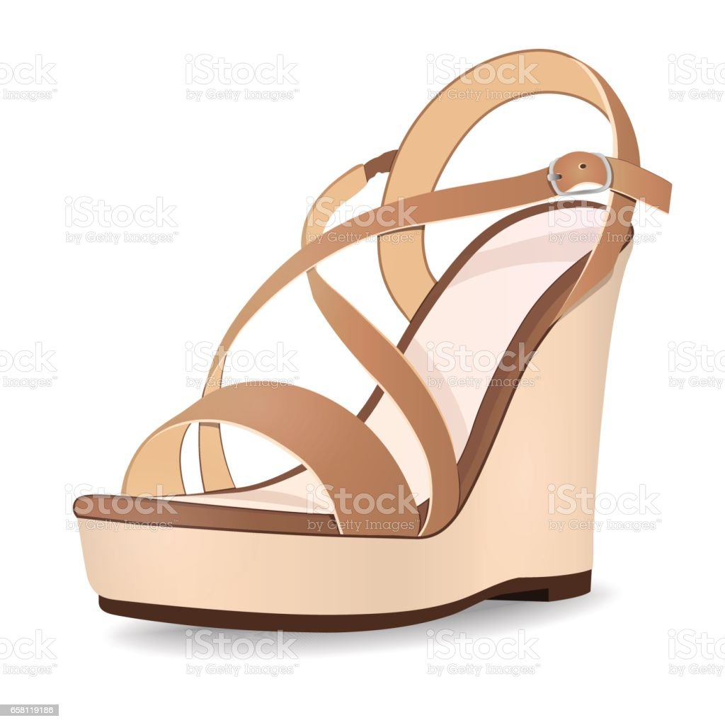 Vector shoes, women's beige brown sandals from open-topped on a tankette, isolated vector art illustration