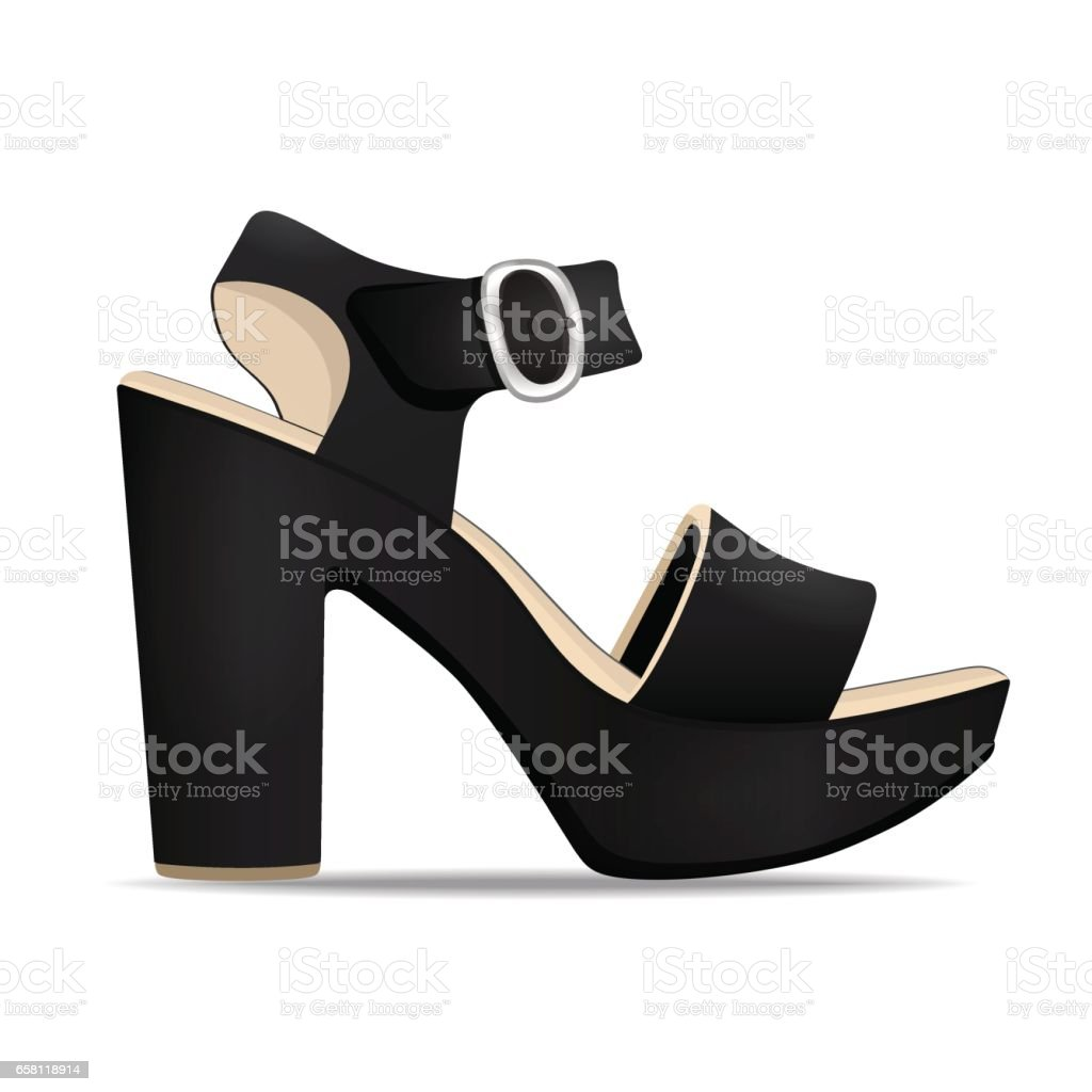 Vector shoes, women's black sandals from open-topped and high heels, isolated vector art illustration