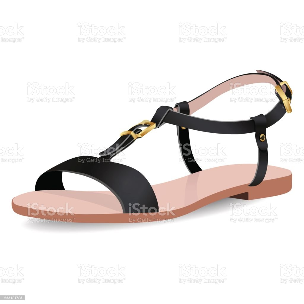 Black sandals with straps - Vector Shoes Women S Black Sandals On Flat Bottomed With Straps Isolated Royalty