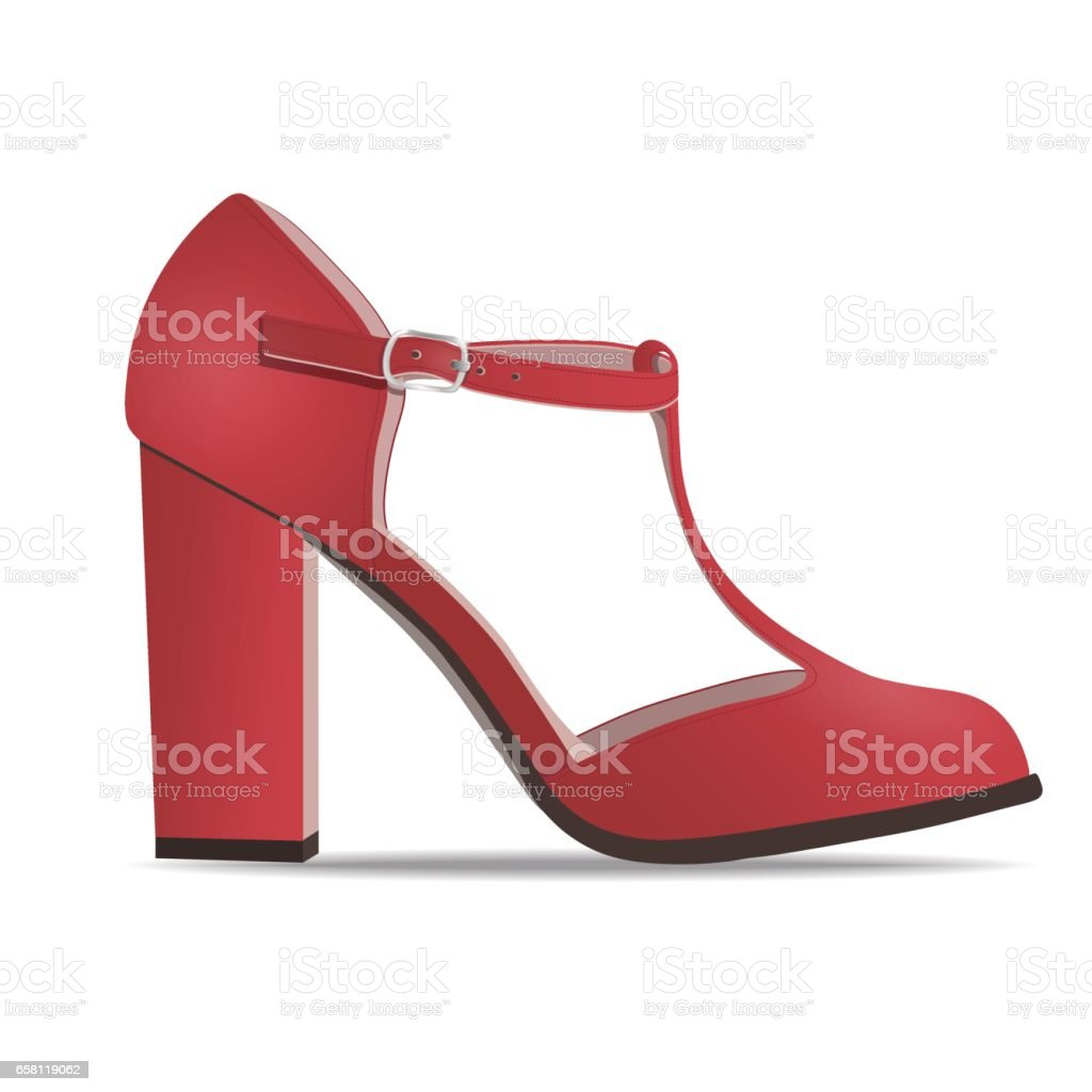 Vector shoes, women's red low shoe with straps on high heel, isolated vector art illustration