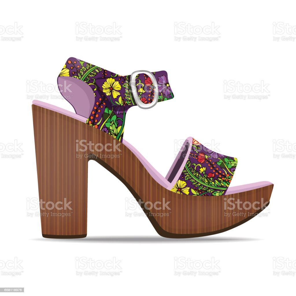 Vector shoes, women's sandals with floral print from open-topped and high heels, isolated vector art illustration