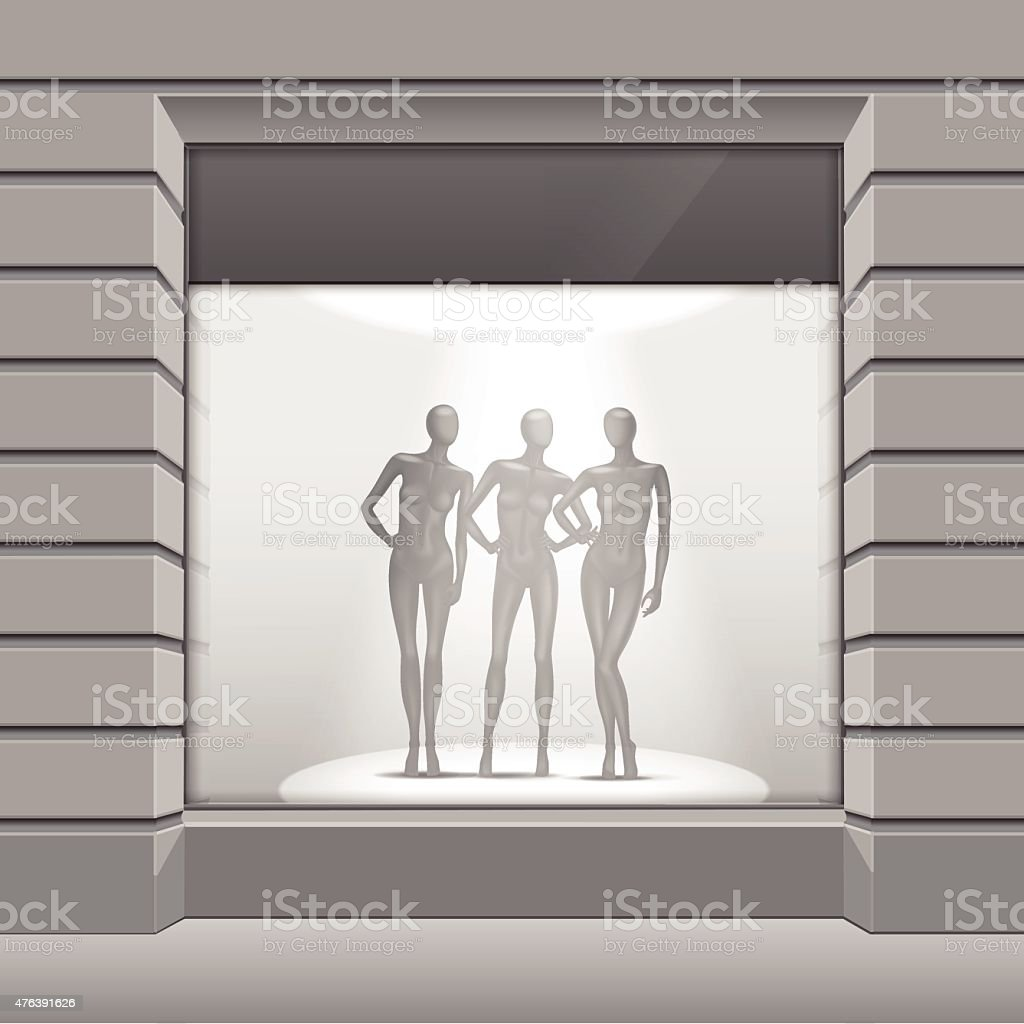 Vector Shop Boutique Store Front with Big Window and Mannequins vector art illustration