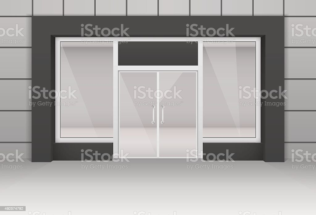 Vector Shop Boutique Store Front with Big Window vector art illustration