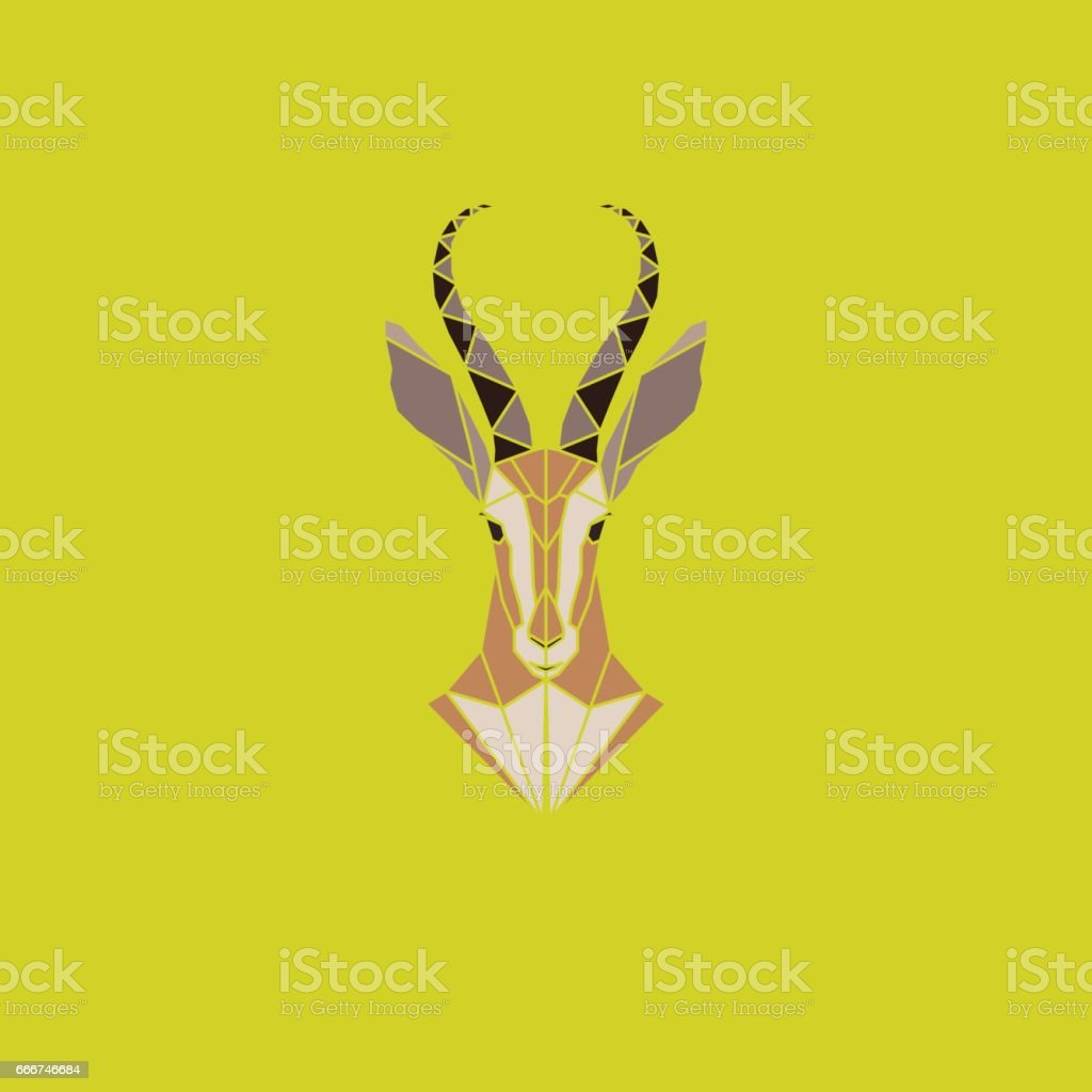 Vector sign abstract head of African Antelope. Geometric low poly antelope design. Animal living in reserve. vector art illustration
