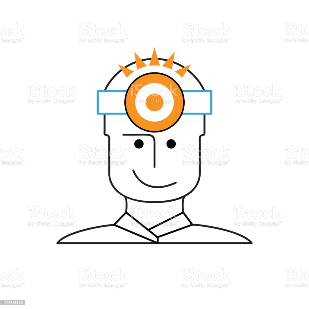 Vector sign doctor with headlamp vector art illustration