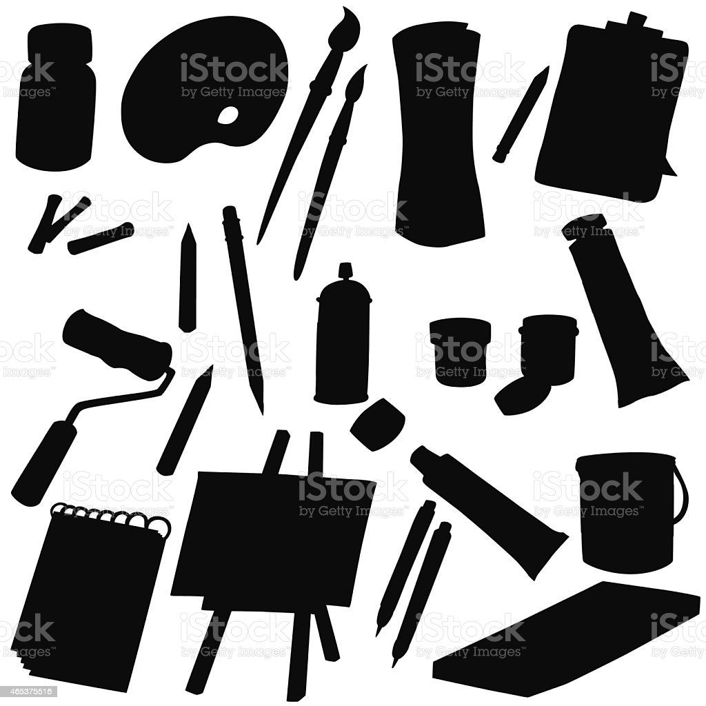 Vector silhouette art supplies vector art illustration