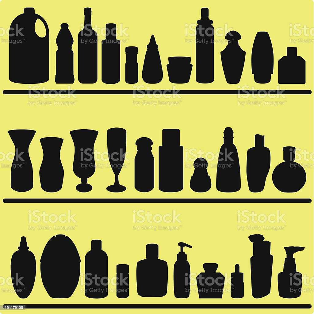 Vector Silhouette : Bottles, glasses, Containers royalty-free stock vector art