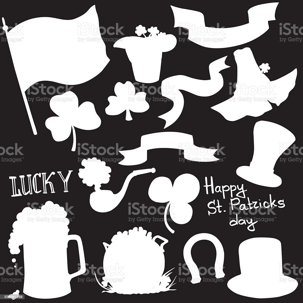 vector silhouette elements St. Patrick's Day vector art illustration