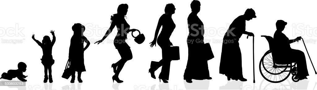 Vector silhouette generation women. vector art illustration