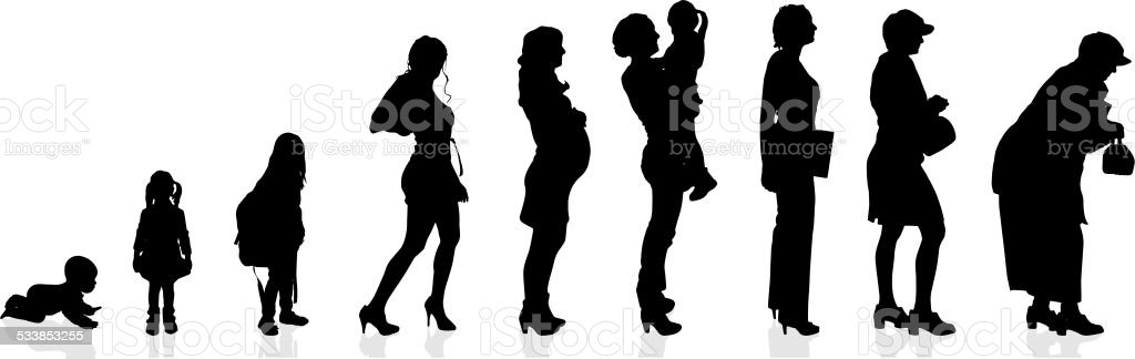 Vector silhouette generation women. vector art illustration