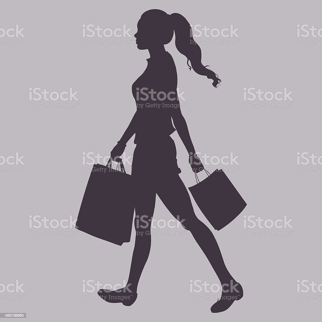 Vector Silhouette - girl goes and is in the hands vector art illustration