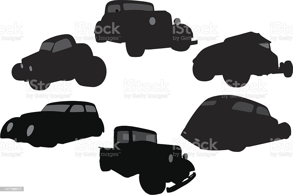 Vector Silhouette of 1930's Vehicles vector art illustration
