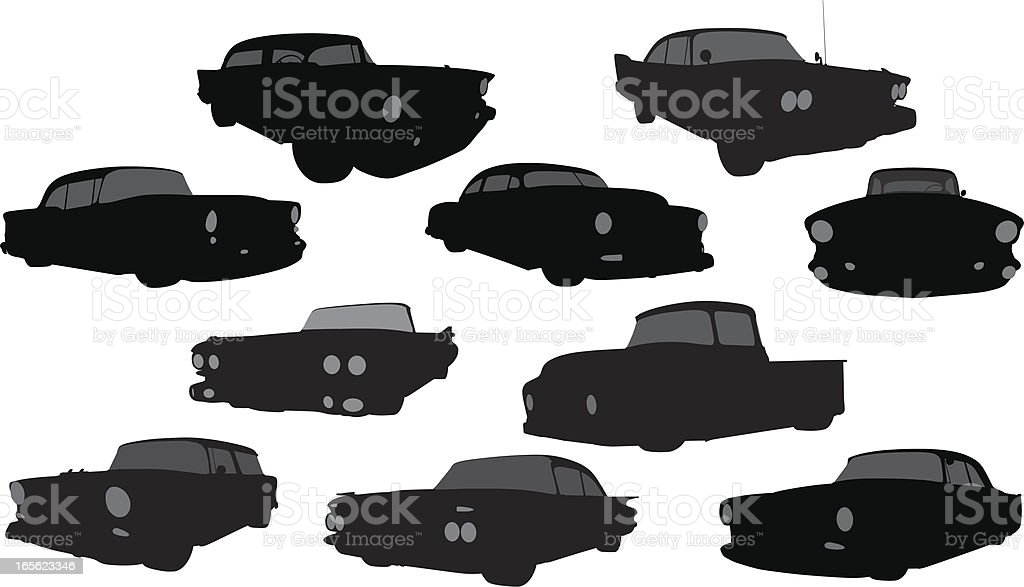 Vector Silhouette of 1950's Vehicles vector art illustration