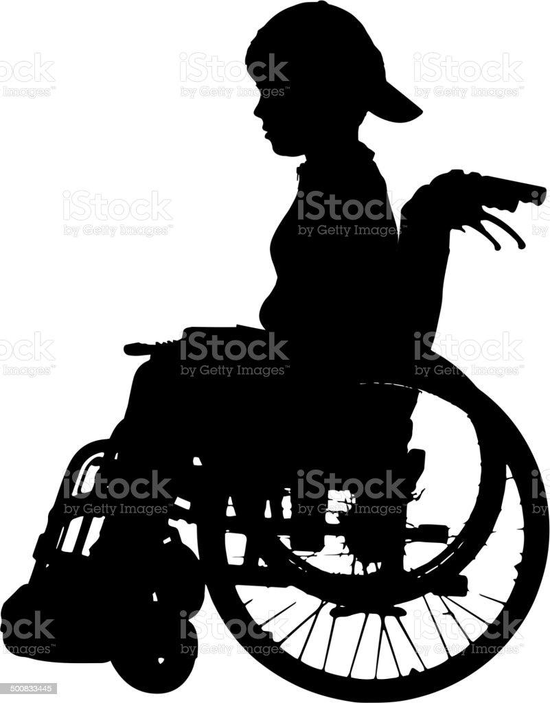 Vector silhouette of a boy. vector art illustration