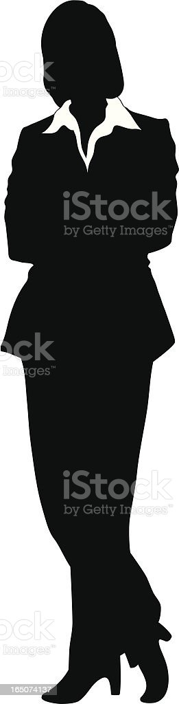 Vector - Silhouette of a Businesswoman Standing Arms Corssed vector art illustration