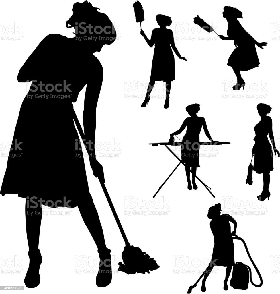 Vector silhouette of a cleaning lady. vector art illustration