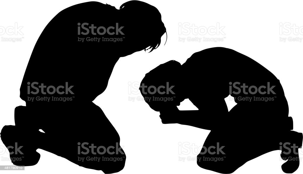 Vector silhouette of a couple. vector art illustration