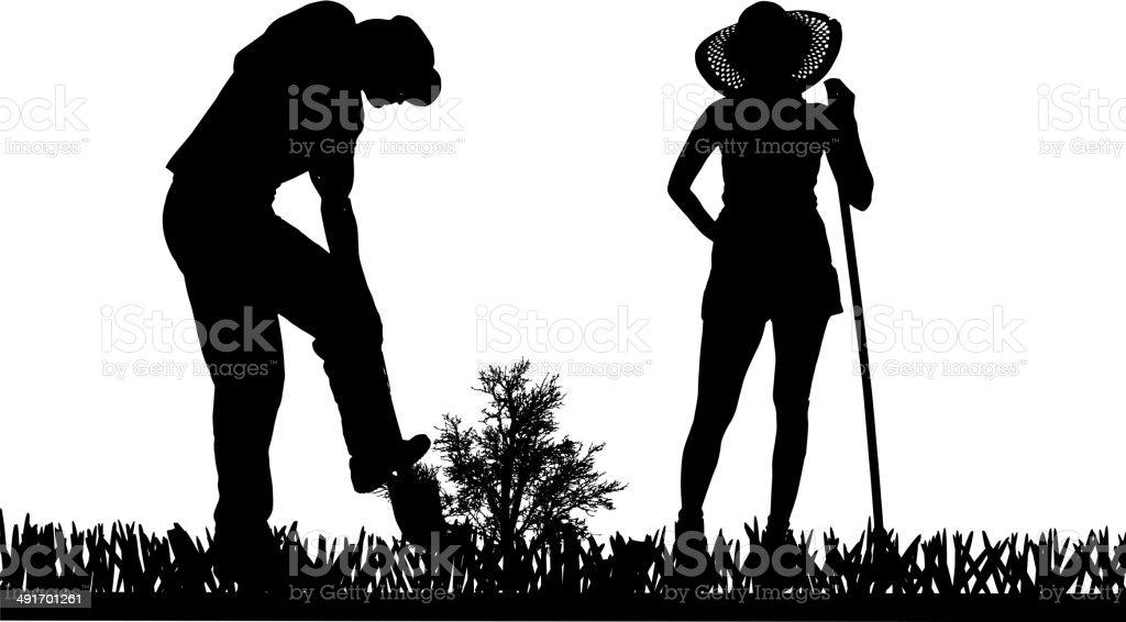 Vector silhouette of a gardener. royalty-free stock vector art