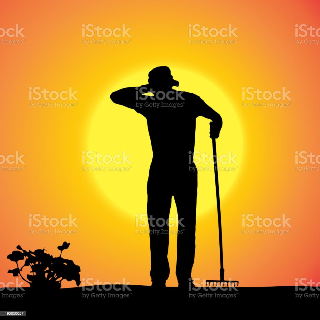 Vector silhouette of a gardener. royalty-free stock vector art